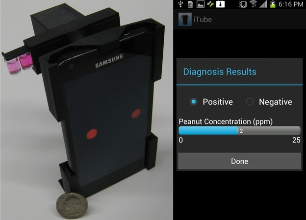 The iTube platform, left, uses colorimetric assays and a smartphone-based digital reader to detect potential food allergen. A screen capture of the iTube App appears on the right. Photo: UCLA