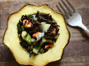 Acorn Squash Stuffed With Wild Rice And Apple