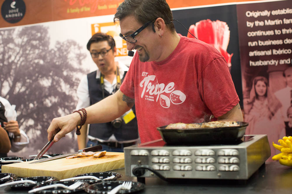 Chris Cosentino doing a demo at Fermin's booth