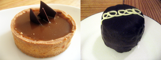 Salted Caramel Chocolate Tart from Mayfield Bakery and Calafia Cake from Calafia Cafe