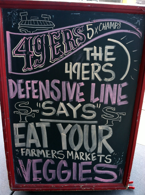 49ers defensive line says eat your farmers market veggies