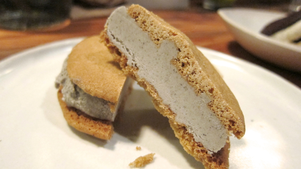 Black sesame ice cream with brown sugar cookie