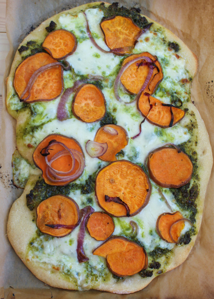 Sweet Potato & Kale Pesto Pizza