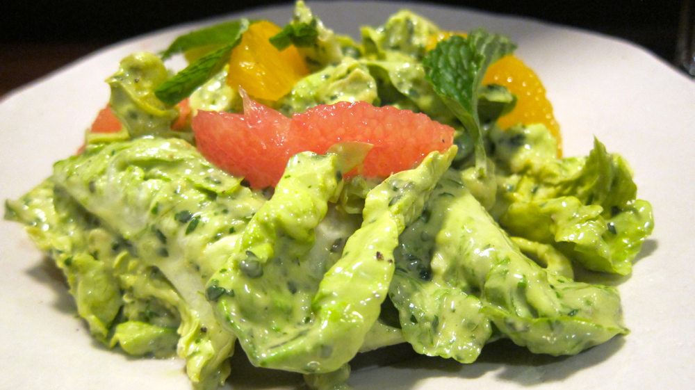 Little gems lettuce salad with green goddess dressing, fish sauce and cilantro