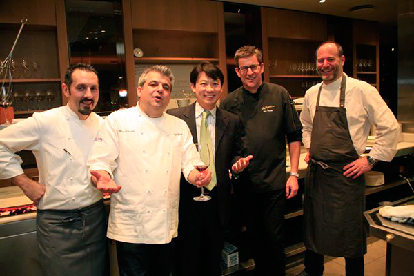 Michelin chefs gather to prepare the Truffles & Wine Dinner at La Toque  left to right: Marco Gubbiotti of La Bastiglia in Spello, Italy; Nico Chessa of Valentino Restaurant in Santa Monica; Robert Chang, Managing Director of American Truffle Company (producer of the Napa Truffle Festival); Ken Frank of La Toque in Napa; and Michael Tusk of Quince in San Francisco. Photo: Faith Echtermeyer
