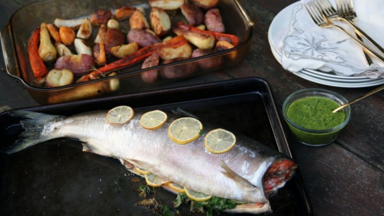 "This version of the ""Sunday roast"" features salmon with salsa verde. Photo: Deena Prichep for NPR"