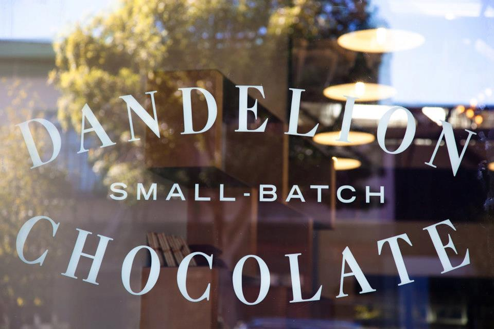 Dandelion Small-Batch Chocolate cafe front door. Photo:  Molly DeCoudreaux