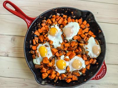 Spicy Sweet Potato Hash and Eggs