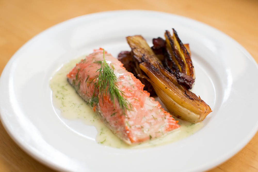 Salmon with dill beurre blanc and braised fennel