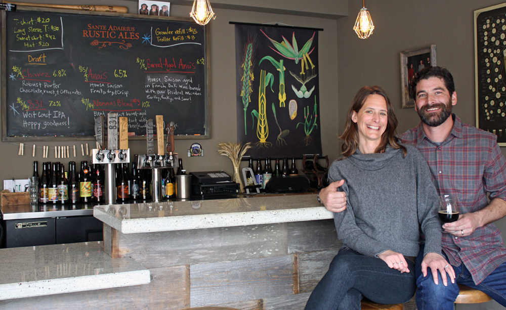 "Tim Clifford and Adair Paterno, owners of Sante Adairius Rustic Ales, call themselves ""beer geeks first, brewers second."""