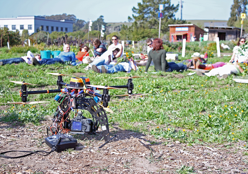 During the shoot, Andrea Blum controlled the camera while her brother Kenny operated the remote-controlled helicopter, which he built.