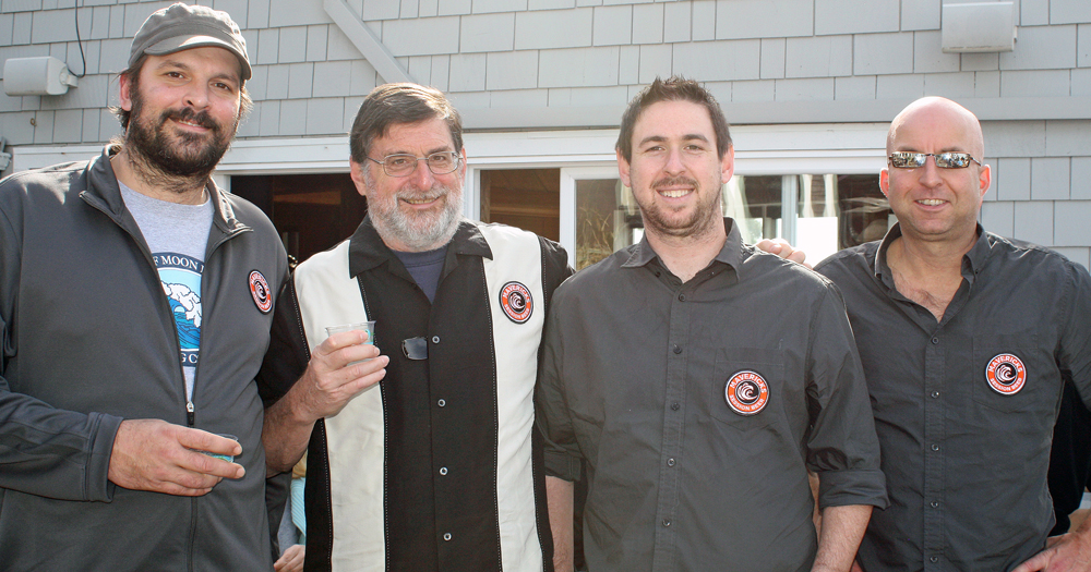 The men behind Mavericks session beers: Head Brewer James Costa, Pete Slosberg, Alex Slosberg and Will Shelton.