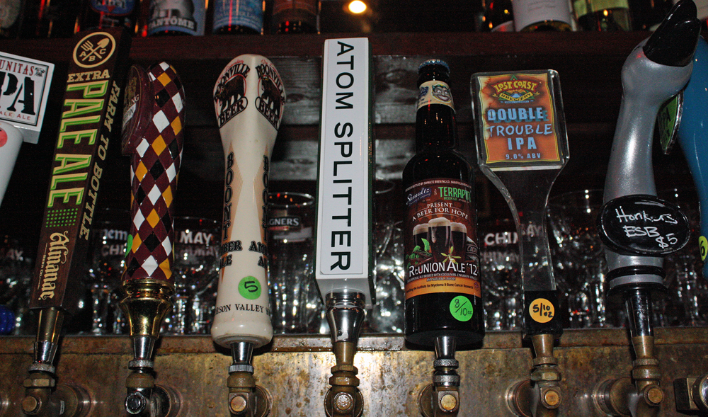 The Atom Splitter, the first beer released by Pine Street Brewery, is offered on tap at bars and restaurants around San Francisco, including Amsterdam Cafe (above), St. Vincent Tavern, Shotwell's and The Sycamore.
