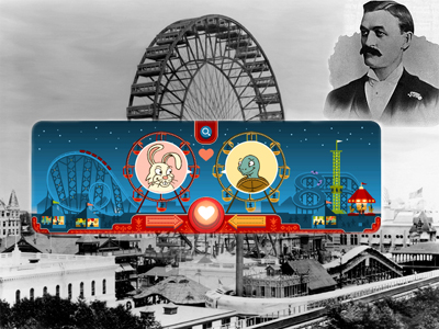 Google Doodle Celebrates George Ferris' Birthday and Valentine's Day