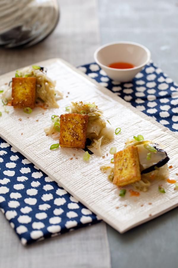 Quick Kimchi + Crispy Tofu Salad. Photo: Matt Armendariz