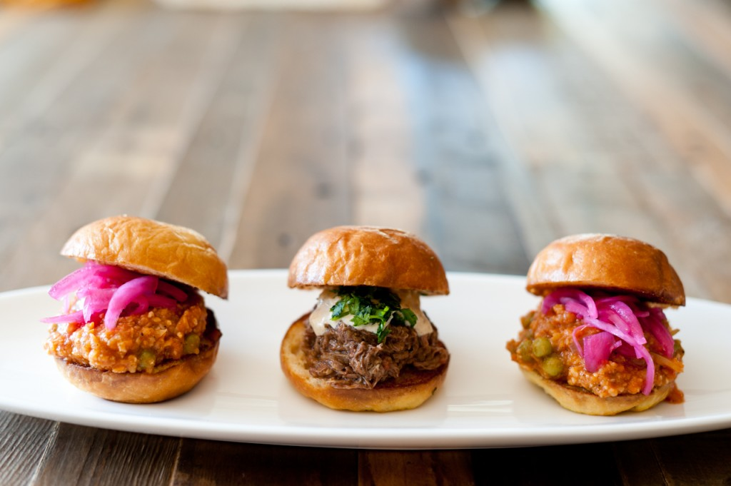 Pav (slider-sized sandwich) menu items: Sloppy Lil'P (left+right) Holy Cow (middle).