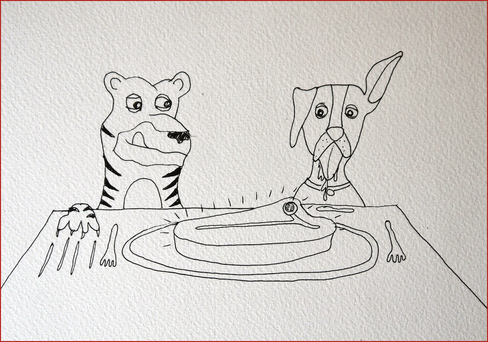 Tiger and Dog. Illustration by Lila Volkas