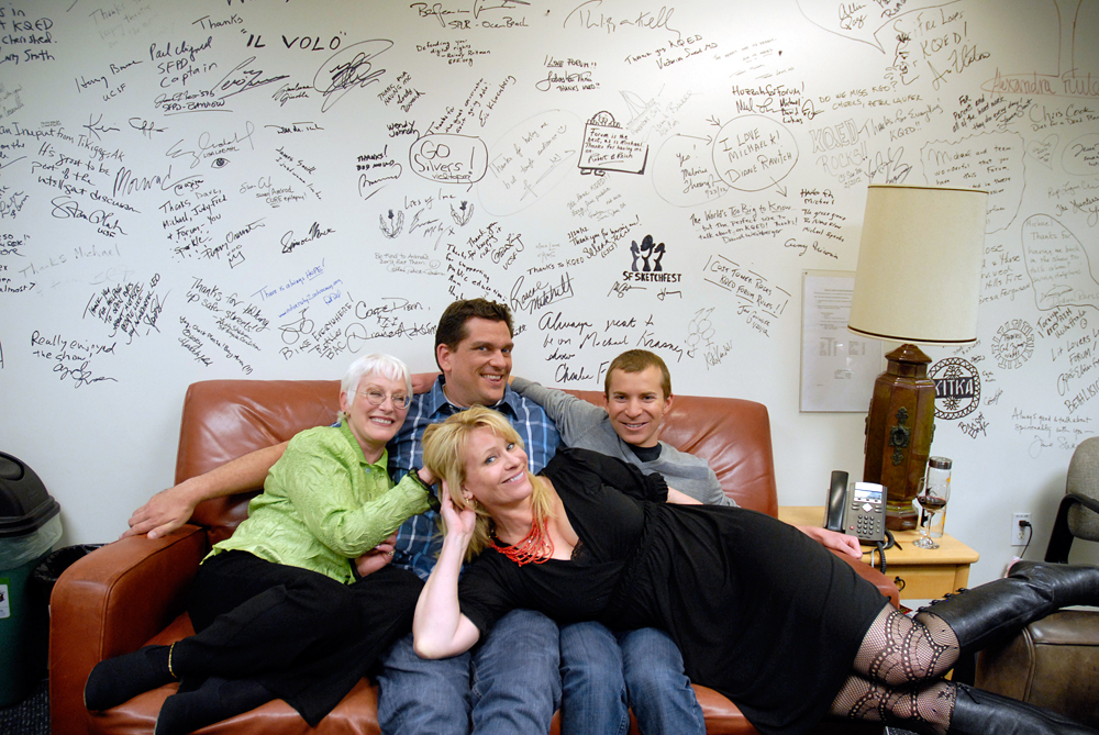Leslie and guests relaxing in the green room after the taping of Check, Please! Bay Area. Photo: Wendy Goodfriend