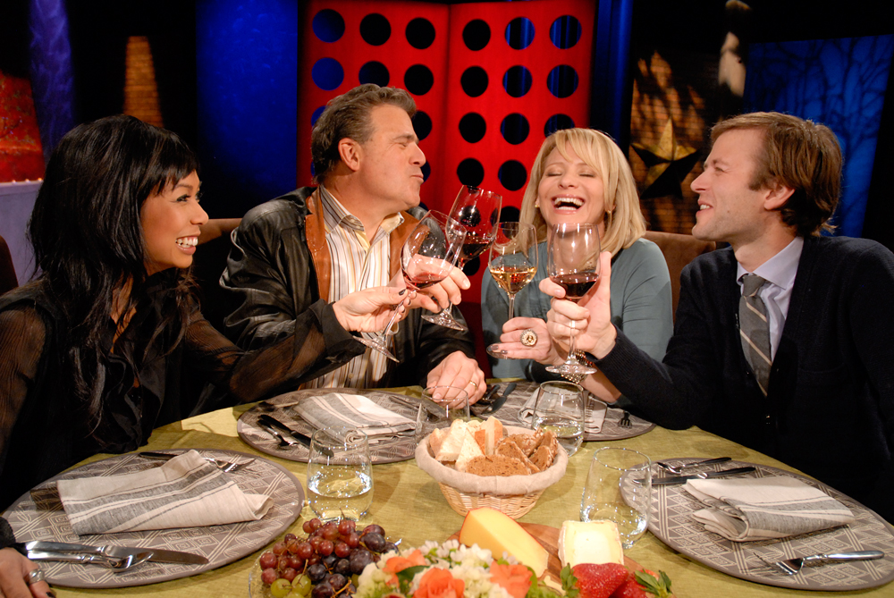 Leslie and guests drinking wine on the set after taping an episode for Season 8. Photo: Wendy Goodfriend
