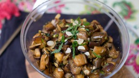 Roasted Eggplant Salad with Almonds, Feta, and Mint