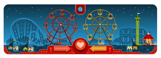 Google Doodle February 14 Valentine's Ferris Wheels