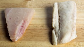Escolar, right, is often substituted for more expensive Albacore tuna (left), a report on mislabeled seafood found. Photo: Yoon S. Byun/Boston Globe via Getty Images
