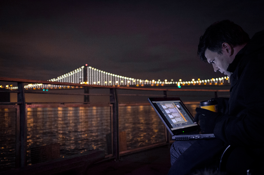 The Artist and his Canvas. Leo Villareal at Bay Bridge. Photo: Lucas Saugen