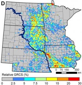Hot spots of grassland conversion: This map shows the percentage of existing grasslands that were converted into corn or soybean fields between 2006 and 2011. Photo: Christopher K. Wright/South Dakota State University