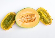 Seeds of fear? To most of us, this cantaloupe and horn melon look like a healthy breakfast or snack. Photo: Daniel M.N. Turner/NPR
