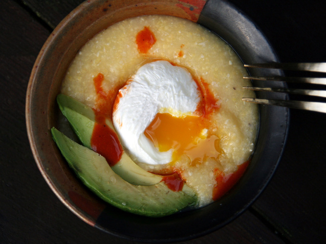 Savory Polenta Porridge With Poached Egg. Photo: Deena Prichep for NPR