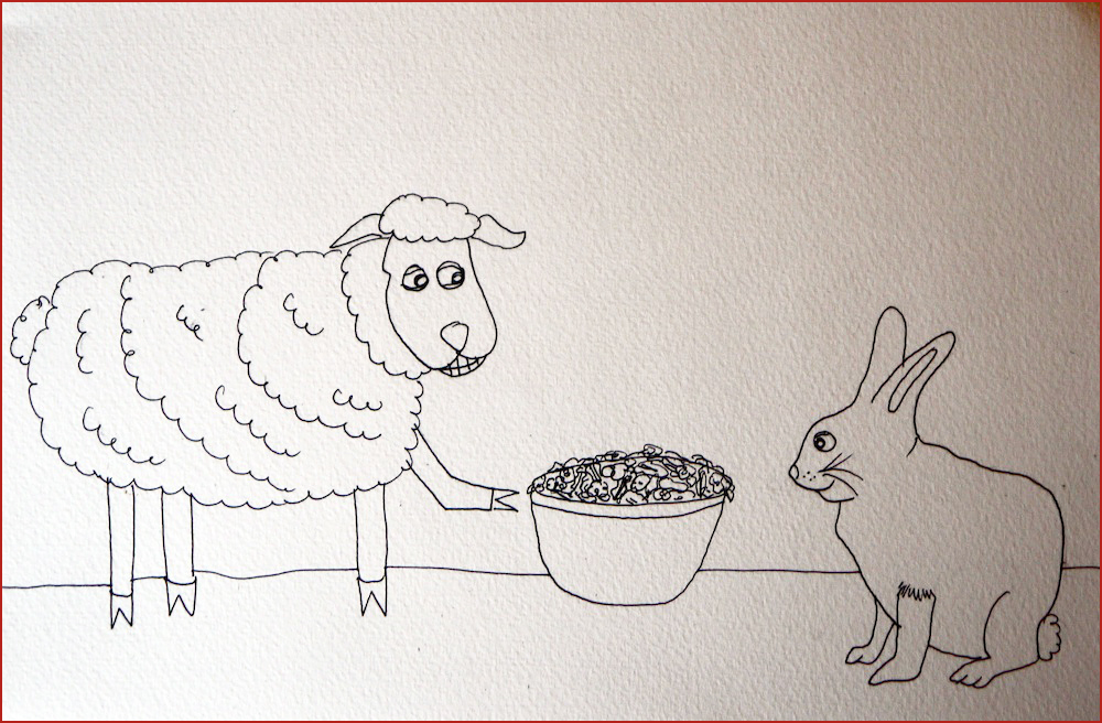 The Sheep and The Rabbit. Illustration by Lila Volkas