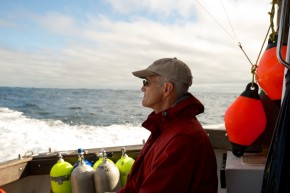 Steve Campana runs the Canadian Shark Research Laboratory. He works to tag sharks with satellite transmitters to find out how long they survive after being caught and released. Photo: Dean Casavechia for NPR