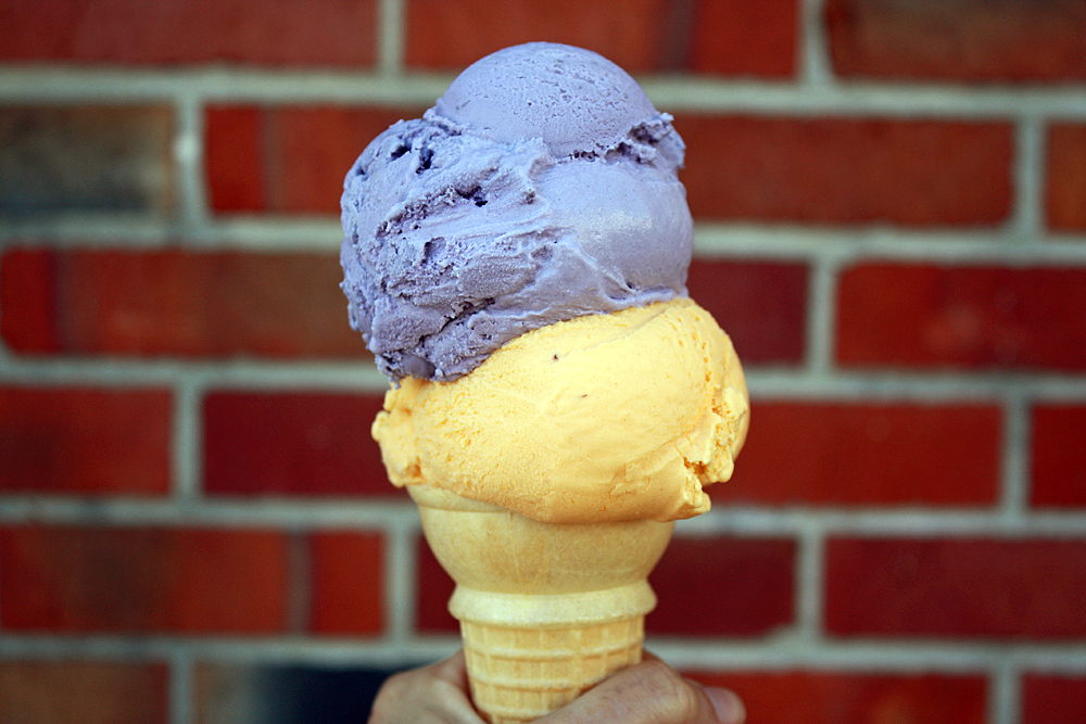 A scoop of ube -- purple yam imported from the Philippines -- and the Tropical 4, a mango, guava, banana and pineapple combo at Mitchell's. Photo: Tilde Herrera