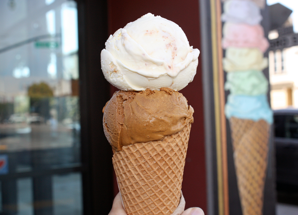 Butter toffee and burnt sugar ice creams on a house-made cone  at Mr. and Mrs. Miscellaneous. Photo: Tilde Herrera