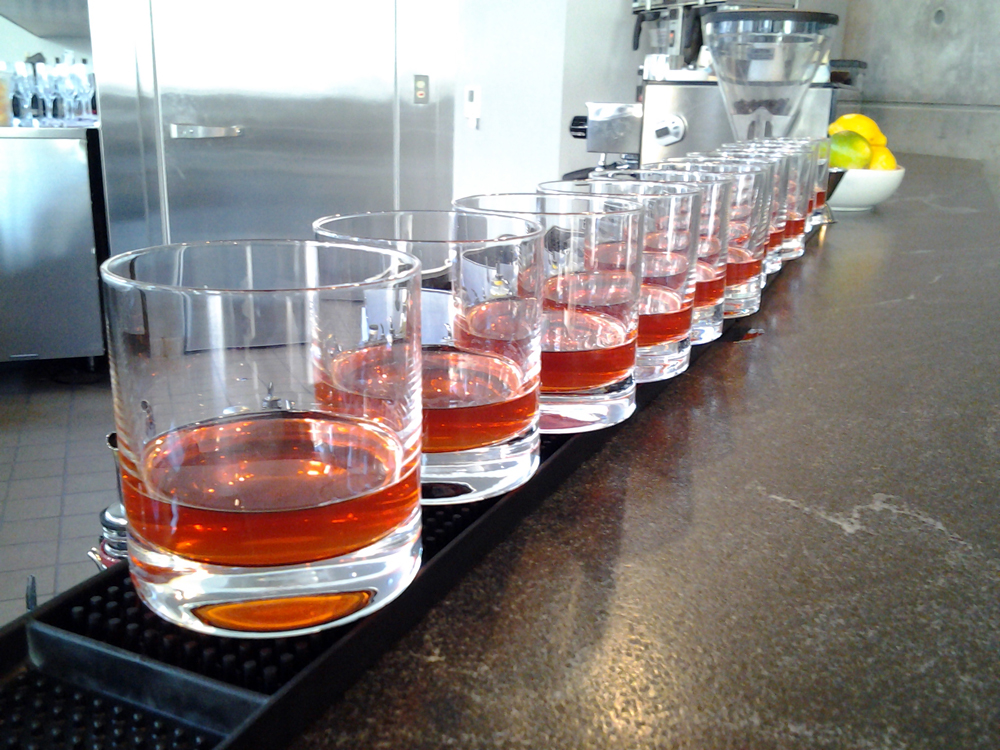 South's bar: prepped The Battle of New Orleans bourbon drinks. Photo: Mary Ladd