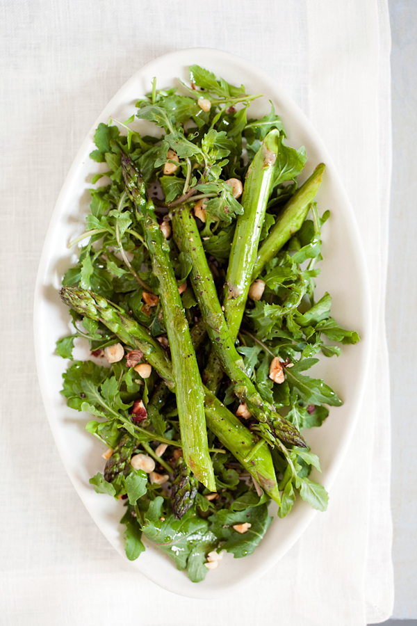 Roasted Asparagus Salad with Arugula and Hazelnuts. Courtesy of The Longevity Kitchen