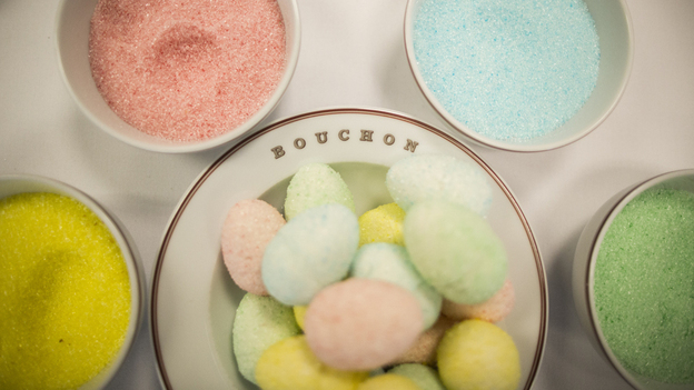 Marshmallow eggs made with homemade flavored sugar are a colorful treat at Thomas Keller's Bouchon Bakery in Beverly Hills, Calif. To make them, pipe homemade marshmallow into hollow plastic eggs. Photo: Doriane Raiman for NPR