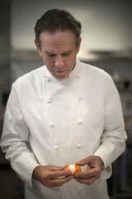 Thomas Keller demonstrates how to prepare and open his recipe for his marshmallow eggs at his Bouchon Bakery in Beverly Hills. Photo: Doriane Raiman for NPR
