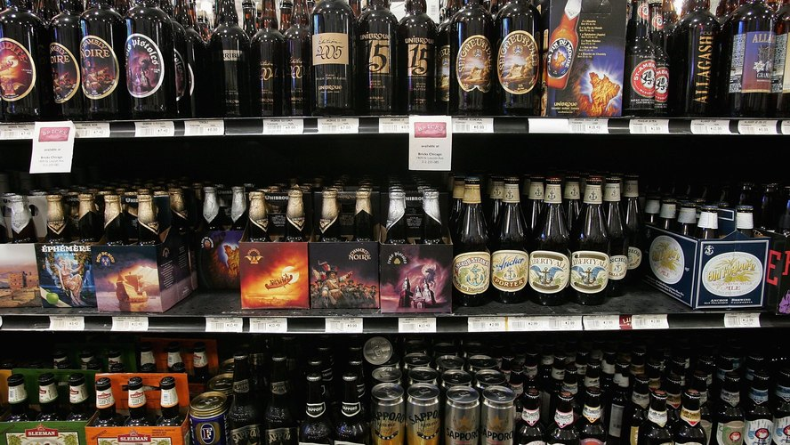 Craft beers are offered for sale at Sam's Wines and Spirits in Chicago. Craft beer has about a 6 percent market share in the U.S. beer market, which is dominated by Anheuser-Busch InBev and MillerCoors. Photo: Scott Olson/Getty Images