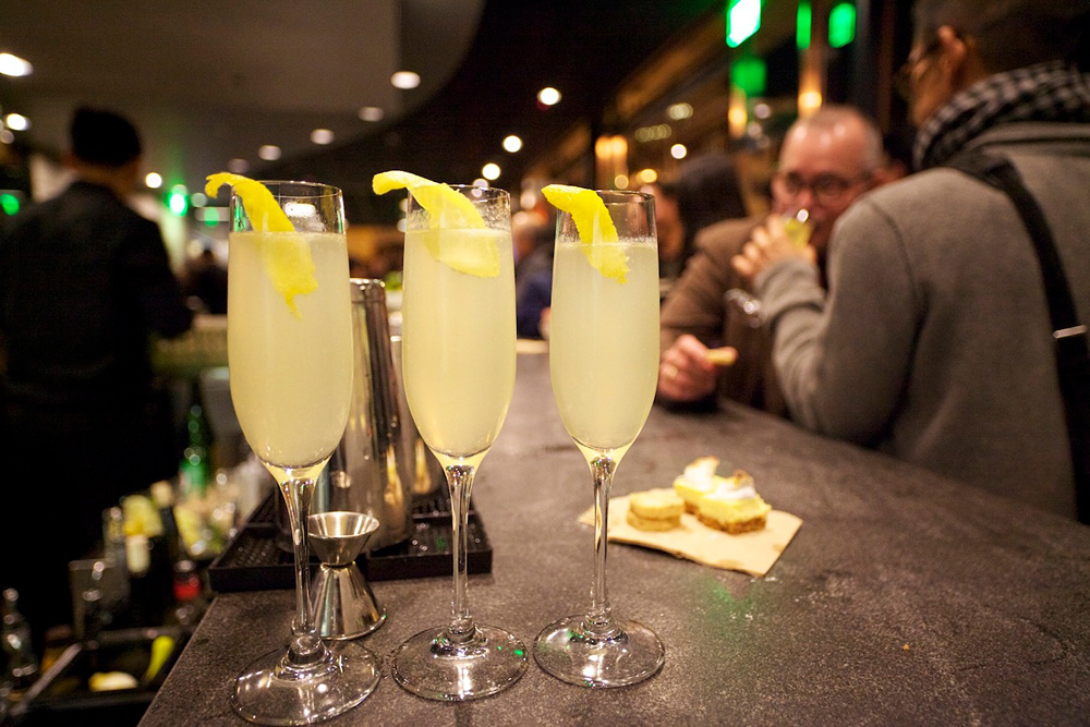 French 75 cocktails at South's bar. Photo: Angkana Kurutach