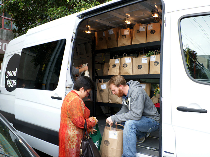 Employees of Good Eggs deliver produce, meat and other local foods from producers in the Bay area of California. Photo: Courtesy of Good Eggs