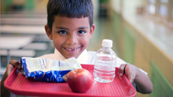 A child with his lunch at school. Photo: Getty Images