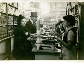 Mark Russ Federman's mother, Anne, serves customers at Russ & Daughters in 1939. Photo: Courtesy of Russ & Daughters