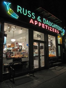 Russ & Daughters pink-and-green neon sign. Photo: Courtesy of Jen Snow, Russ & Daughters