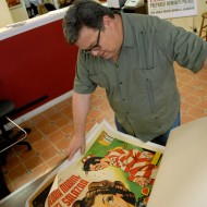 Steve Sando shows off his linen vintage movie posters. Photo: Wendy Goodfriend