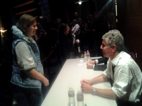 A guest greets Bourdain. Photo: Mary Ladd