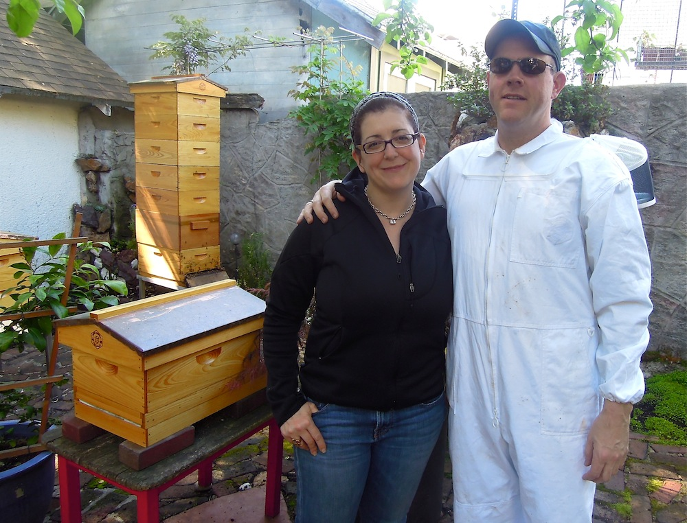 Nina, Mark and Langstroth hive