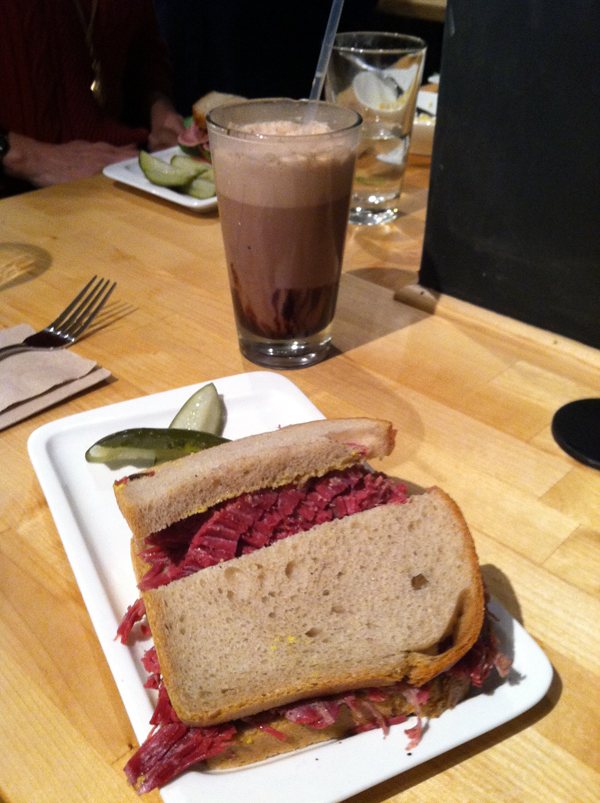 Chocolate egg cream and Corned Beef sandwich