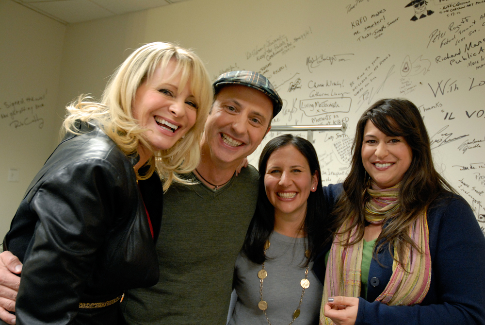Host Leslie Sbrocco and guests from Check, Please! Bay Area relax in KQED's greenroom