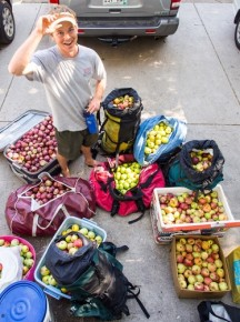 Jeff Wanner stands among the 500 pounds of apples he picked from neighborhood trees in a couple of hours with Falling Fruit co-founder Ethan Welty in Boulder, Colo., last fall. Photo: Ethan Welty/Falling Fruit